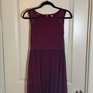 Xhileration Maroon High Low Dress